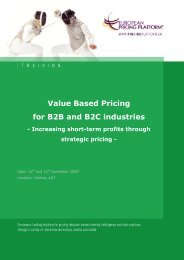 Value Based Pricing for B2B and B2C industries - Hinterhuber ...