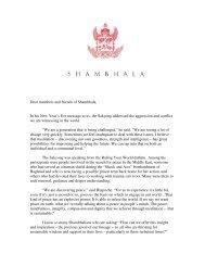 President Reoch's Shambhala Day Letter 2006