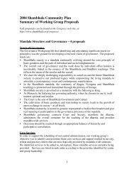 2004 Shambhala Community Plan Summary of Working Group ...