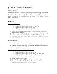 GATEWAY EXAM STUDY QUESTIONS HINAYANA - Shambhala