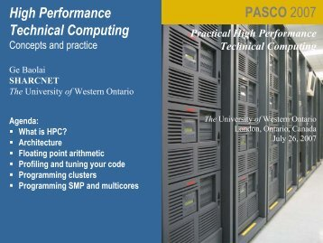 HPC, Architecture, FP, Profiling, Parallelism, Cluster ... - SHARCNet