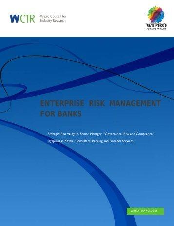 ENTERPRISE RISK MANAGEMENT FOR BANKS