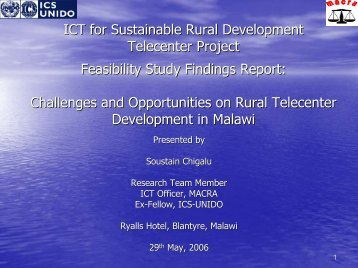 ICT for Sustainable Rural Development Telecenter ... - Share4Dev.info