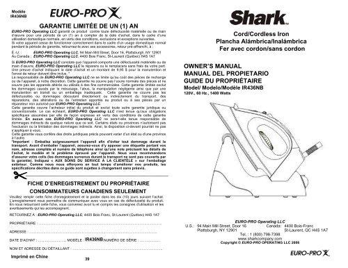 OWNER'S MANUAL MANUAL DEL PROPIETARIO GUIDE ... - Shark