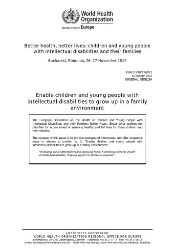 Better health, better lives: children and young people with intellectual