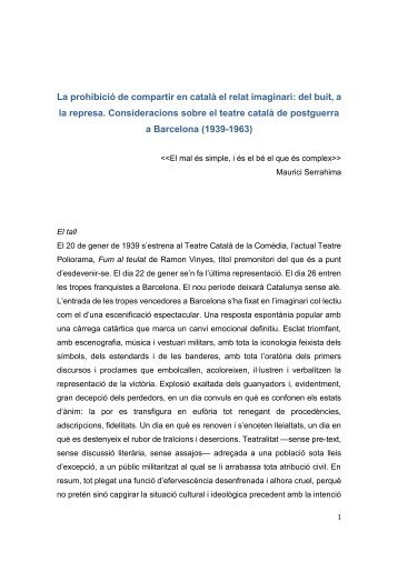 La prohibició de compartir en català el relat imaginari: del buit, a la represa. Consideracions sobre el teatre català de postguerra a Barcelona (1939-1963)