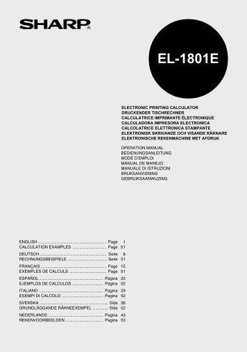 EL-1801E Operation-Manual GB DE FR ES IT SE NL - Sharp