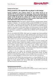 Press Release AQUOS 3D Blu-ray BD-HP90S - Sharp Electronics