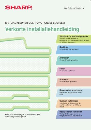 MX-2301N Operation-Manual Quick-Start-Guide NL - Sharp