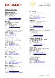 UK solar dealer list - Sharp