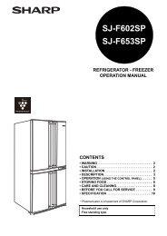 SJ-F602SP/F653SP - Sharp Australia Support - Sharp Corporation ...