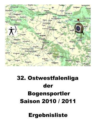 32. Ostwestfalenliga der Bogensportler Saison 2010 / 2011 ...