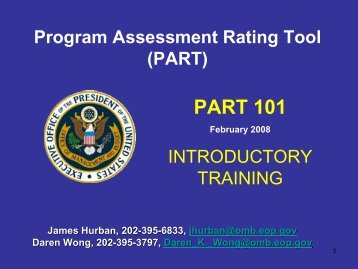 PART 101 Introductory Training - The White House