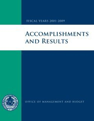 Accomplishments and Results, FY 2001-2009 - the White House