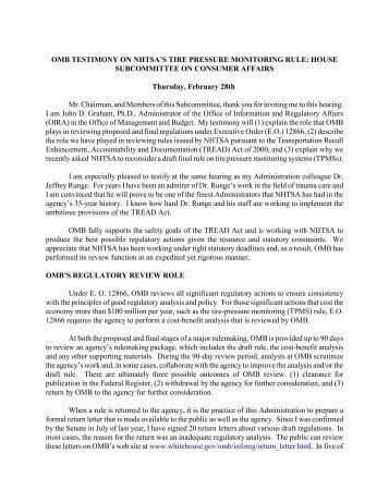 OMB Testimony of John D. Graham - The White House