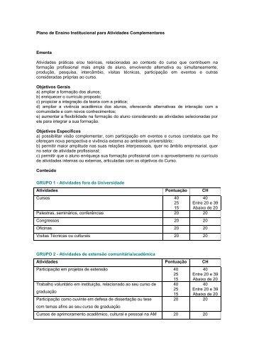 Plano de Ensino Institucional para Atividades Complementares ...