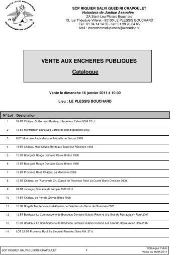 Catalogue VENTE AUX ENCHERES PUBLIQUES - ARTCOVER