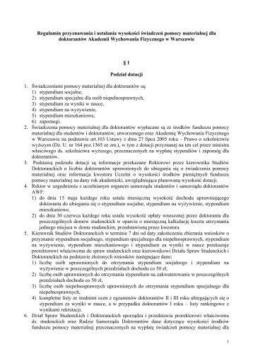 Regulamin - Akademia Wychowania Fizycznego