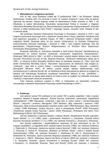 Kosiewicz Jerzy cv - Akademia Wychowania Fizycznego