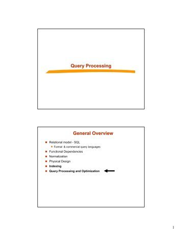 Query Processing General Overview