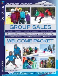 Dodge Ridge Groups Welcome Packet