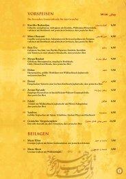 VORSPEISEN DçCnº ¢ìJ BEILAGEN - Shiraz Restaurant