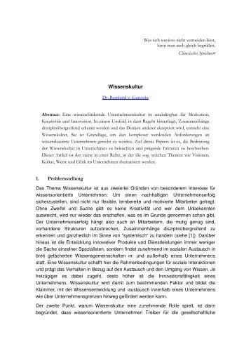 Wissenskultur 1. Problemstellung - Community of Knowledge