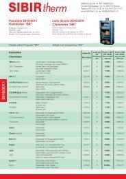 Preisliste 2010/2011 Liste de prix 2010/2011 Cheminées