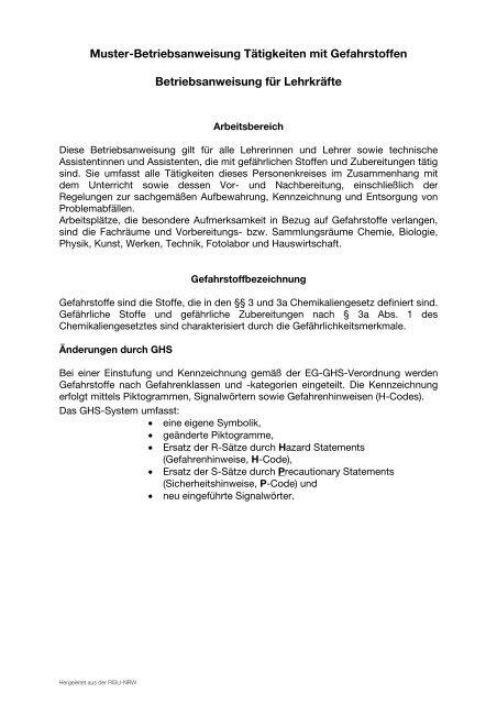Betriebsanweisung für Lehrkräfte - Sichere Schule