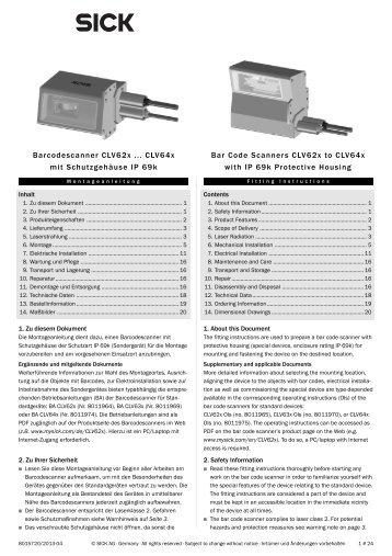 Barcodescanner CLV62x ... CLV64x mit Schutzgehäuse IP ... - Sick