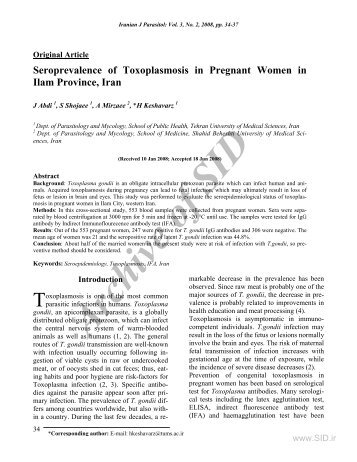 SEROPREVALENCE OF TOXOPLASMOSIS IN PREGNANT ... - Sid