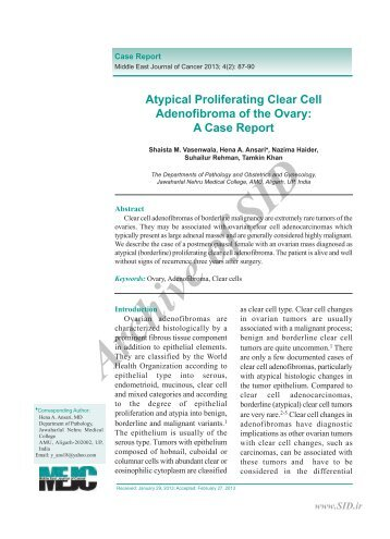 atypical proliferating clear cell adenofibroma of the ovary