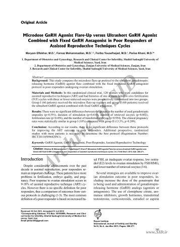 microdose gnrh agonist flare-up versus ultrashort gnrh agonist ... - Sid