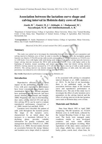 Association between the lactation curve shape and calving ... - Sid