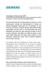PDF Siemens Trendreport Future Living 2013 Pressemitteilung