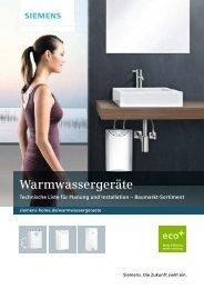 PDF Technische Liste Baumarkt-Sortiment - Siemens Warmwasser