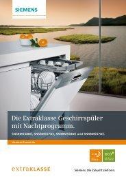 Die Extraklasse Geschirrspüler mit Nachtprogramm. - Siemens