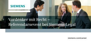 Vordenker mit Recht – Referendarsevent bei Siemens Legal