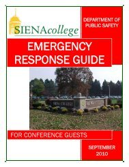 Emergency Response Guide for Conference Guests - Siena College