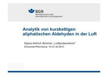 Analytik von kurzkettigen aliphatischen Aldehyden ... - Sigma-Aldrich