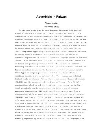Adverbial Modification in Paiwan