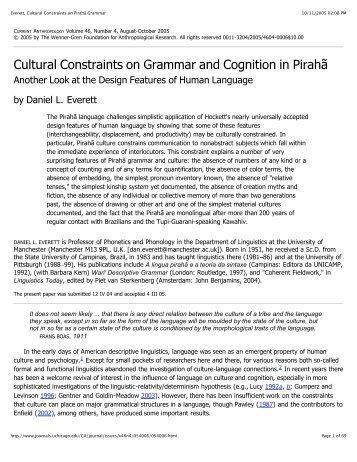 Everett, Cultural Constraints on Pirahã Grammar - SIL International