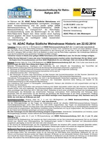 Titel: 10. ADAC Rallye Südliche Weinstrasse Historic am 22.02.2014