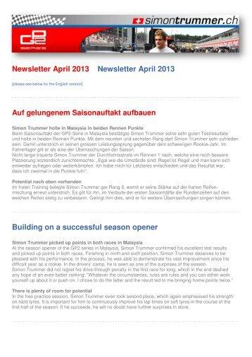 Newsletter April 2013 - Simon Trummer