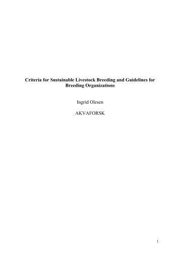 Kriterium for berekraftig husdyravl og retningslinjer - Skog og landskap