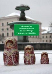 Lehrveranstaltungen im WS 2013/14 - Institut für Slavische Philologie