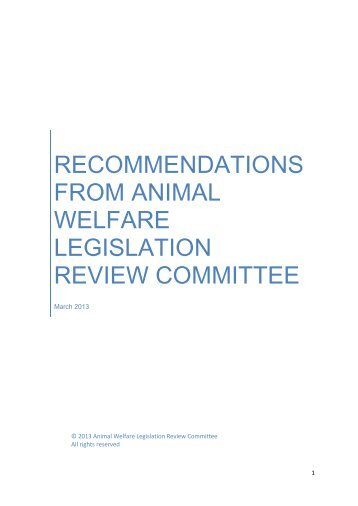 RECOMMENDATIONS FROM ANIMAL WELFARE LEGISLATION ...