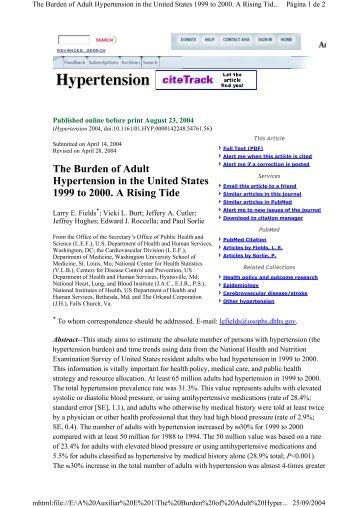 The Burden Of Adult H