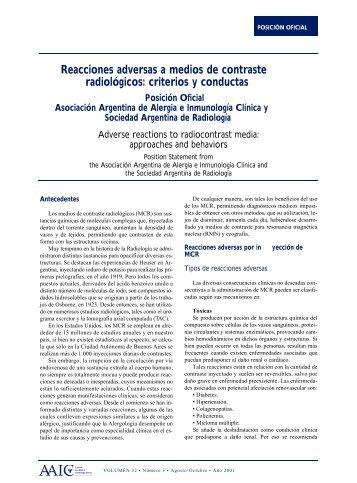 Reacciones adversas a medios de contraste radiológicos: criterios y ...