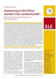 Anpassung an den Klima- wandel in der Landwirtschaft – - SLE Berlin